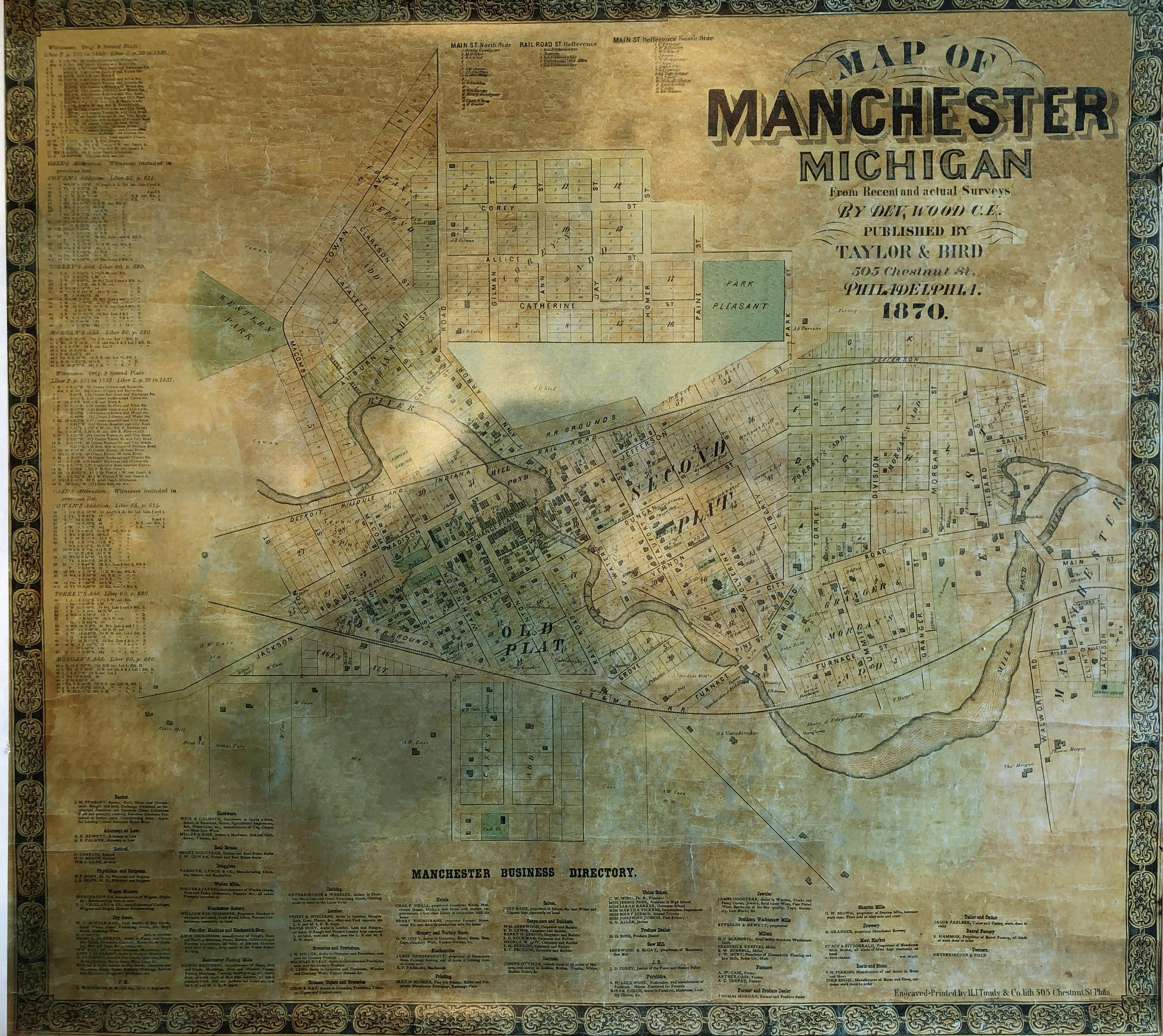 Manchester 1870 DeVolson Wood Map